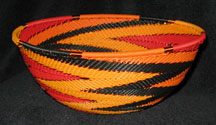 Medium African Zulu Telephone Wire Basket/Bowl - Dragon Flight