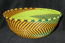 Medium African Zulu Telephone Wire Basket/Bowl - Bird Feathers