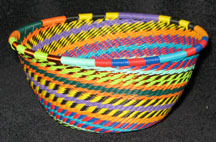Small African Zulu Telephone Wire Basket/Bowl - Carnival