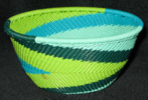 Small African Zulu Telephone Wire Basket/Bowl - Spring Day