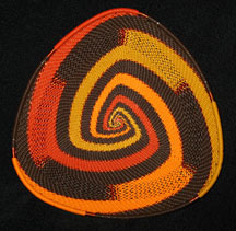 African Zulu Telephone Wire Basket Triangle Plate - Autumn Leaves