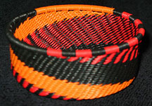 African Zulu Telephone Wire Basket - Tuna Can - Flames