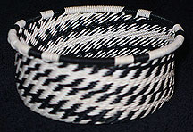 African Zulu Telephone Wire Basket - Tuna Can - Zebra