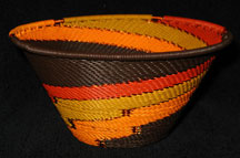 Medium African Zulu Telephone Wire Cone Basket/Bowl - Autumn Leaves