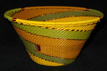 Medium African Zulu Telephone Wire Cone Basket/Bowl - Sun Flowers