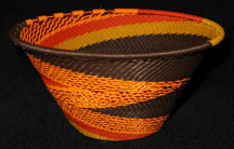 Medium African Zulu Telephone Wire Cone Basket/Bowl - Earth Tones