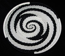 OVAL African Zulu Telephone Wire Basket/Bowl - Black White Reverse