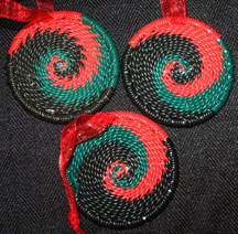 African Zulu Telephone Wire Basket Christmas Ornaments - Kwanzaa #8