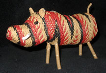 African Zulu Telephone Wire Animal Basket - Browns Warthog