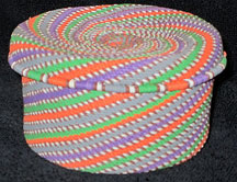African Zulu Telephone Wire Covered Box Basket - Purple Haze
