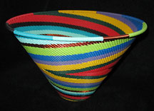 Zulu African Cone Shaped Telephone Wire Basket/Bowl - Bright Colors