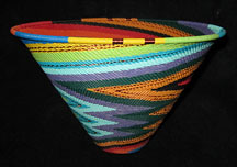 Zulu African Cone Shaped Telephone Wire Basket/Bowl - Electric Swirl