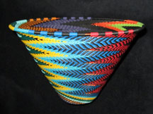 Zulu African Cone Shaped Telephone Wire Basket/Bowl - Fabulous Feathers
