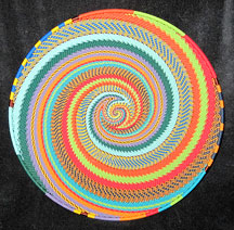 Large African Zulu Telephone Wire Basket/Plate - Rainbow Feathers