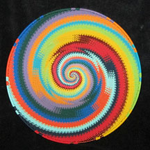 Large African Zulu Telephone Wire Basket/Plate - Bright Swirl