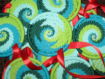 Set of Three (3) African Zulu Telephone Wire Basket Ornaments - Blue/Green