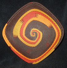 Square African Zulu Telephone Wire Basket/Bowl - Golden Autmn