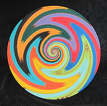 Extra-Large African Zulu Telephone Wire Basket/Plate - Bright Rainbow