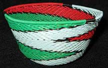 Small African Zulu Telephone Wire Basket/Bowl - Cinnamon Mint