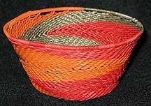 Small African Zulu Telephone Wire Basket/Bowl - Red Flames