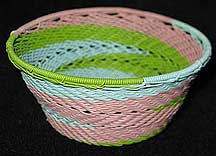 Small African Zulu Telephone Wire Basket/Bowl - Soft Pastels