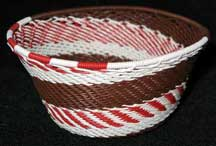 Small African Zulu Telephone Wire Basket/Bowl - Chocolate Peppermint
