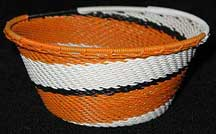 Small African Zulu Telephone Wire Basket/Bowl - Tiger Tail