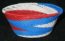 Small African Zulu Telephone Wire Basket/Bowl - Patriotic
