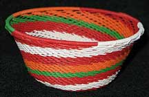 Small African Zulu Telephone Wire Basket/Bowl - Red Hot Chili Peppers