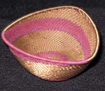 African Zulu Triangle Telephone Wire Basket - Plum/Copper
