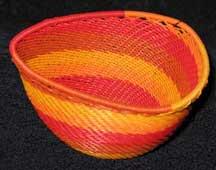 African Zulu Triangle Telephone Wire Basket - Sunshine