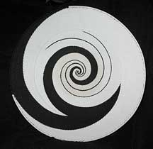 Extra-Large African Zulu Telephone Wire Basket/Platter - Black and White Swirls