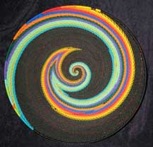 African Zulu Large Telephone Wire Basket/Platter - Rainbow/Black Swirl