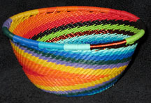 Small African Zulu Telephone Wire Basket/Bowl - Reverse Rainbow