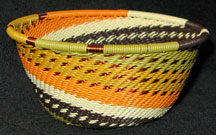 Small African Zulu Telephone Wire Basket/Bowl - Prairie Grasses