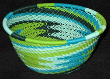 Small African Zulu Telephone Wire Basket/Bowl - Spring Grass