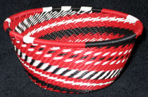 Small African Zulu Telephone Wire Basket/Bowl - Kabuki