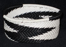 African Zulu Telephone Wire Basket - Tuna Can - Zebra Stripe