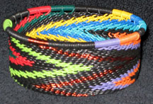 African Zulu Telephone Wire Basket - Tuna Can - Black Rainbow