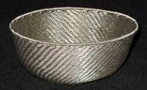 SALE! - Medium African Zulu Telephone Wire Basket/Bowl - Silver