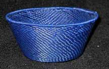 SALE! - Small African Zulu Telephone Wire Basket/Bowl - Blue