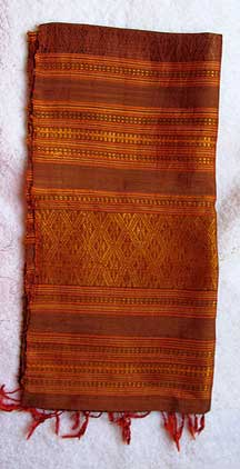 Handmade Thai Hilltribe Folk Pattern Silk Scarf -  Oranges/Golds