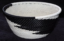 Small African Zulu Telephone Wire Basket/Bowl - Bold Black White