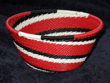 Small African Zulu Telephone Wire Basket/Bowl - Red Spiral