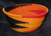 Small African Zulu Telephone Wire Basket/Bowl - Copper Flames