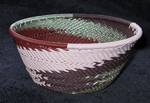 Small African Zulu Telephone Wire Basket/Bowl - Silver Burgundy