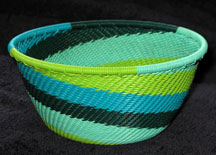 Small African Zulu Telephone Wire Basket/Bowl - Spring Rains