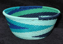 Small African Zulu Telephone Wire Basket/Bowl - Ocean Waves