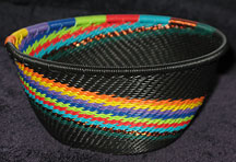 Small African Zulu Telephone Wire Basket/Bowl - Colorful Ribbons
