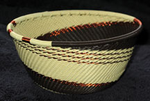 Small African Zulu Telephone Wire Basket/Bowl - Desert Sands